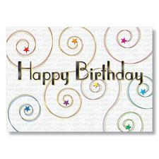 Starry Swirls Happy Birthday Cards