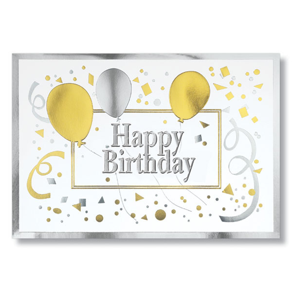 Gold And Silver Happy Birthday Cards