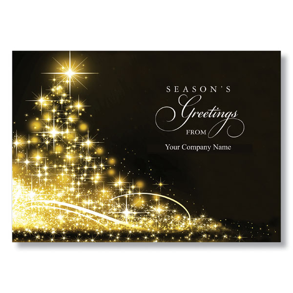 sparkling tree seasons greetings personalized business holiday