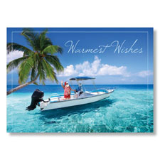 Santa's Tropical Boating Holiday Card