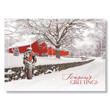 Country Barn at Christmas Holiday Card