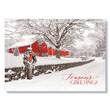 Country Barn at Christmas Holiday Card
