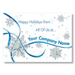 Custom Ribbon and Snowflakes Holiday Card