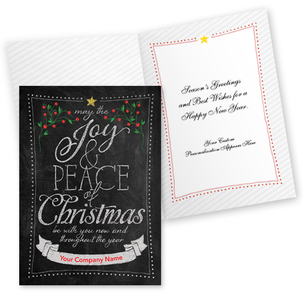 Personalized chalkboard wishes holiday card christmas for Business christmas cards personalized