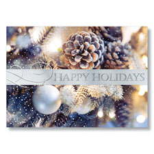 Frosted Pine Cones Holiday Card
