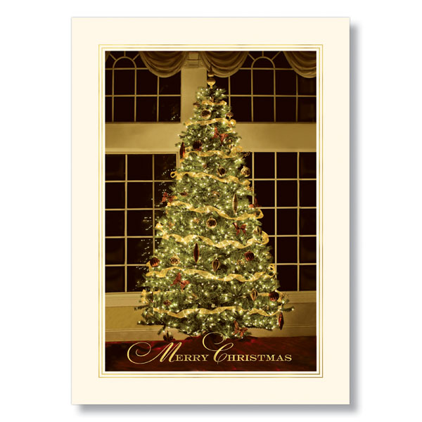 elegant christmas tree holiday card
