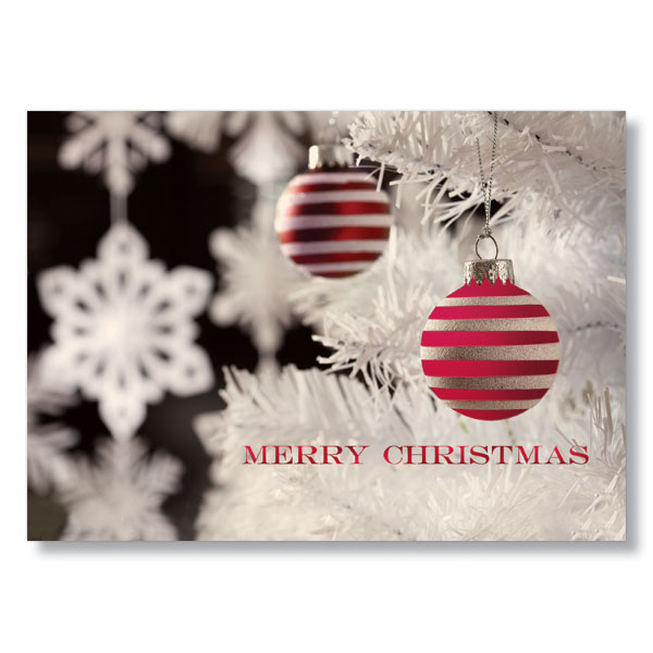 striped christmas ornaments holiday card - Christmas Card Ornaments