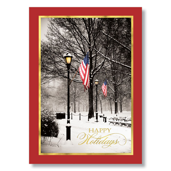 patriotic winter park holiday card christmas cards hrdirect