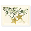 Stars and Holly Greetings Holiday Card