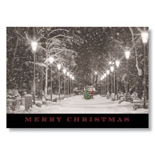 City Park Snow with Santa Holiday Card