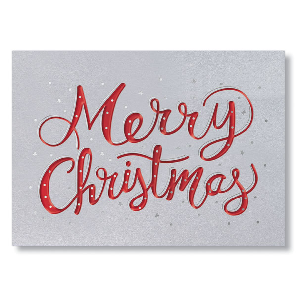 Embossed merry christmas business holiday card hrdirect merry christmas in red holiday card colourmoves