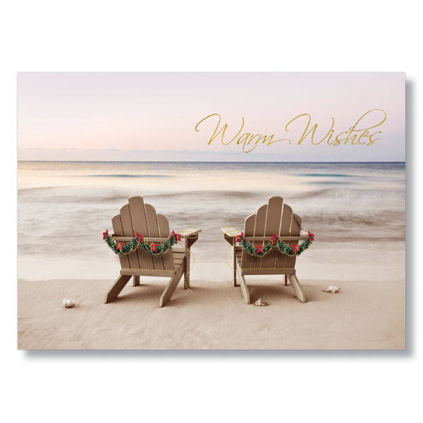 Warm Wishes Beach Scene Business Holiday Card Hrdirect Com