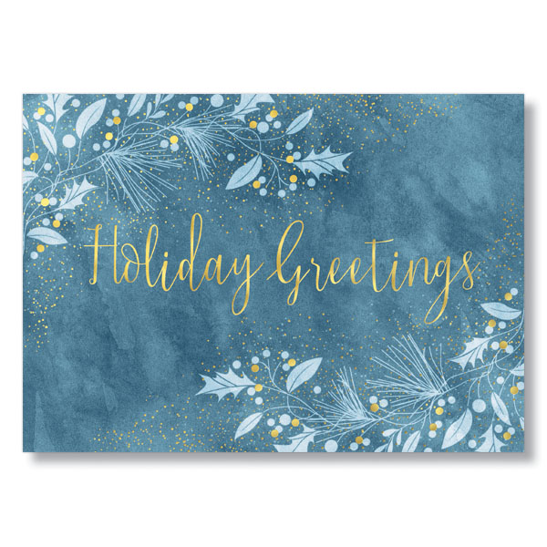 Watercolor holiday greetings business holiday card hrdirect watercolor leaves and berries holiday card m4hsunfo