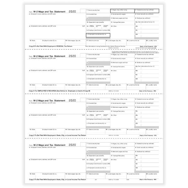 2014 w-2 forms   laser 4-up-h, horizontal employee copy b, c, 2, 2 (100)