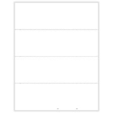 W-2 4-Up Blank with 3 Horizontal Perforations with Backer Instructions (100 Pack)