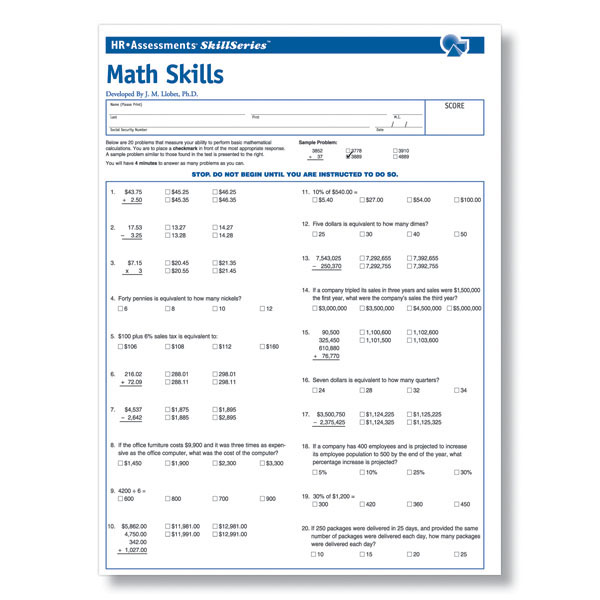 Workplace Math Skills Test | Workplace Essential Skills