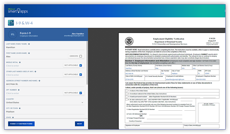 This online I-9 form app reduces the chances of errors while employees fill-in their information. The side-by-side guidance also minimizes questions on the employee's part.