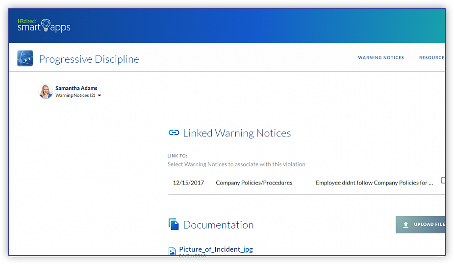 Link warning reports to one another to make repeat violations known. This will also help determine next steps if another incident should arise.