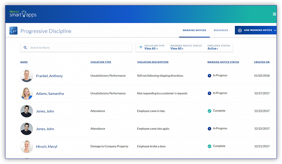 View an employee's discipline history at a glance. You can search for an employee and filter by violation type or status.